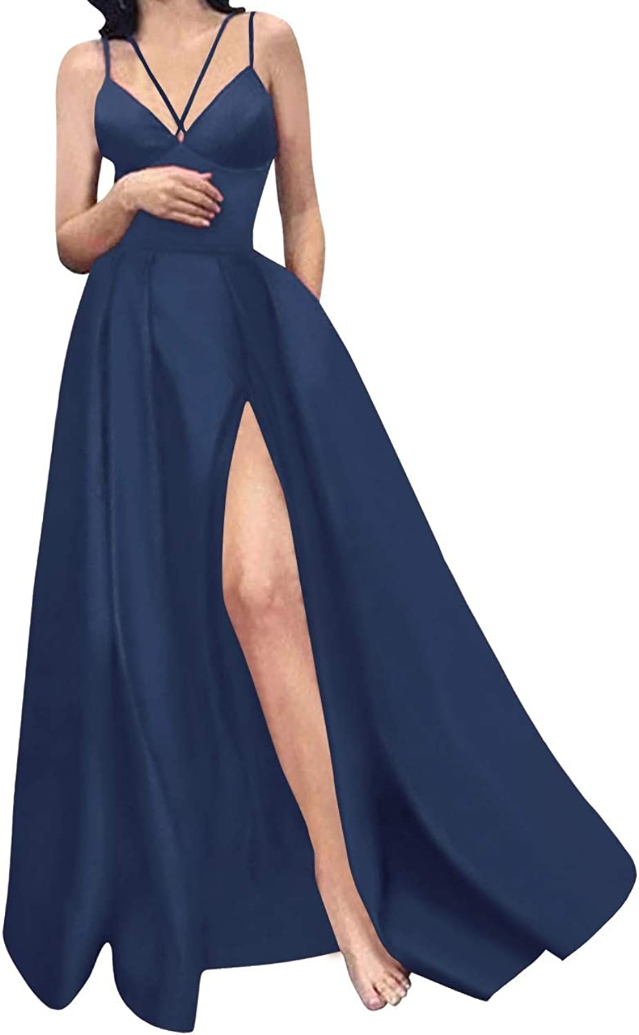 MorySong Women High Split Spaghetti Straps ALine Prom Evening Dress with Pockets