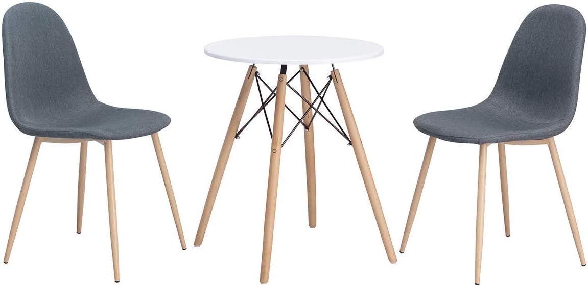 GOOCO Ajie Lot De 4 Chaise De Cuisine Salle À Manger Design Scandinave Assise Rembourrée Pieds en Bois De Hêtre Massif Gray