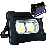 ERAY Luz de Trabajo LED Recargable 80W 12000 Lúmenes, Foco LED Portátil con Panel Solar/ 4 Modos de Iluminación/ IP65 Impermeable/Batería Externa de 10000mAh para Camping, Trabajo, Pesca, Color Negro