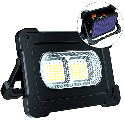 ERAY LED Baustrahler Akku 80W, LED Arbeitsleuchte Arbeitsscheinwerfer IP65 Wasserdicht / 2 Ladenmethoden / 10000mAh / als Power Bank / 4 Modi, Bauscheinwerfer für Werkstatt, Baustelle, Schwarz