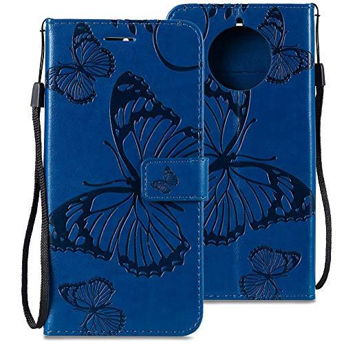WIWJ Schutzhülle Kompatibel mit Nokia 9 PureView Handyhülle Lederhülle Flip Wallet Cover[3D Geprägter Schmetterling Ledertasche]Handyhüllen für Nokia 9 PureView Hülle-Blau