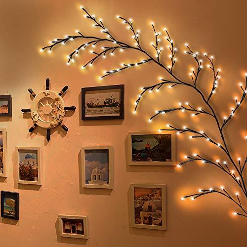 Ramas de luces LED para interior, 144 ramas con electricidad, decoración de Navidad, dormitorio, salón, hogar, pared (blanco cálido, Plug In)