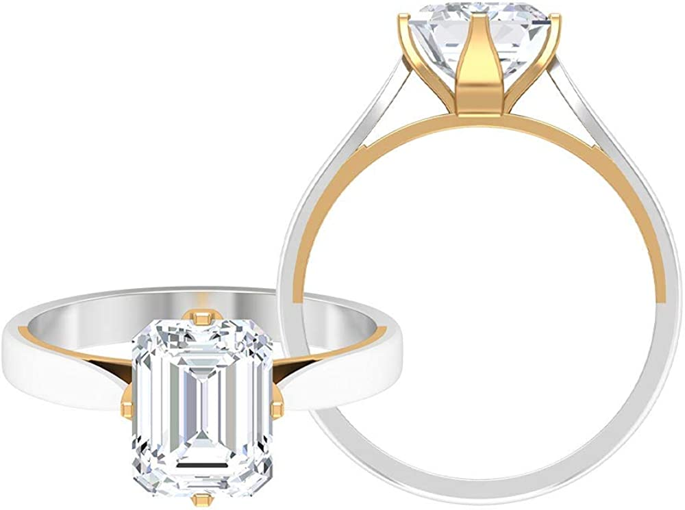 2.45 CT Octagon Shaped Moissanite Solitaire Rings Set, Unique Halo Engagement Rings, Antique Bridal Wedding Rings Set, Anniversary Rings, 14K Gold