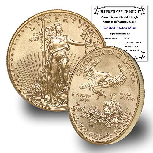 2021 1/2 oz Gold American Eagle Brilliant Uncirculated with Certificate of Authenticity by CoinFolio $25 Mint State