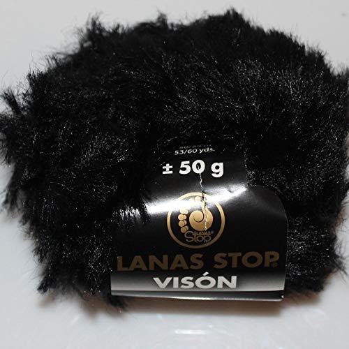 Lanas Stop Vison Ovillo de Color Negro Cod. 100