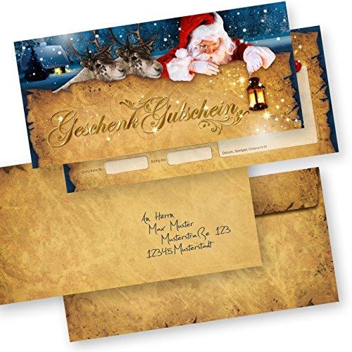 PREMIUM Geschenk-Gutscheine für Weihnachten Nordpol Express (25 Sets) mit Umschläge einfach Werte eintragen und stempeln, Gutscheinkarten für Firmen