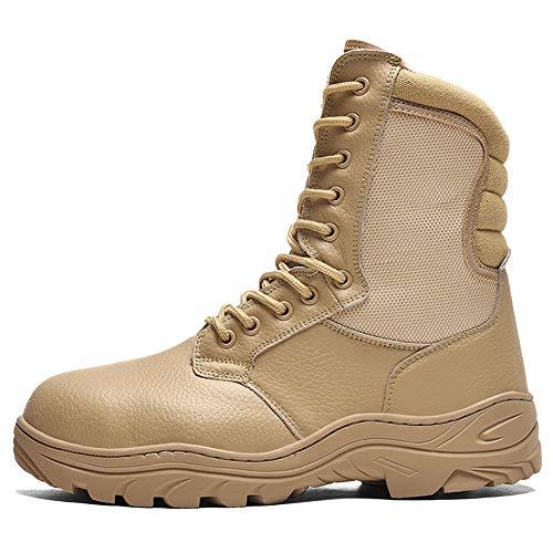 NDHSH Herren Echtleder Kampfstiefel Stahlkappe Schuhe High-Top-Stiefel Wanderschuhe Patrouillenstiefel Schnürschuhe Bergschuhe,Beige-44
