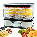 Gkcity Food Dehydrator, Food Dryer with Digital Temperature Control Dryer with 5 BPA-Free Trays Faster Drying for for Meat Jerky Beef Fruits Dog Snacks Herbs Vegetables ETL Listed 250W