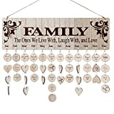 Family Birthday Calendar Board DIY Wooden Birthday Reminder Wall Hanging Calendar Plaque for Mom Dad with 100...