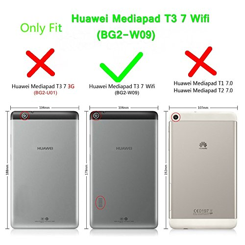 Kepuch Custer Hülle für Huawei MediaPad T3 7.0 WiFi,Smart PU-Leder Hüllen Schutzhülle Tasche Case Cover für Huawei MediaPad T3 7.0 WiFi - Rot - 2