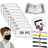 30PCS PM2.5 Filtro de carbón activado, 5 capas Niños reemplazables Anti Haze Filter Paper Pad para niños Niños Niñas