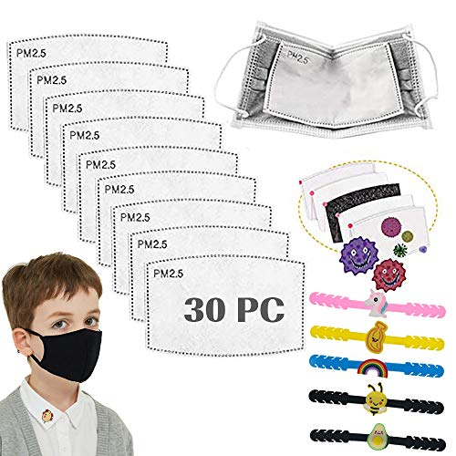 30PCS PM2.5 Filtro de carbón activado, 5 capas Niños reemplazables Anti Haze Filter Paper Pad para niños Niños Niñas, con gancho extensor de oreja con correa ajustable de 5 piezas