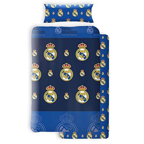 Asditex Juego de Sábanas Coralina Real Madrid, 3 Piezas (1 Sábana Encimera, 1 Funda de Almohada y 1 Sábana Bajera), Diseño con Escudos del Real Madrid Azul. (105 cm)