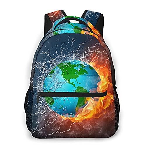 Earth in Fire and Water Mochila Bookbag 16 pulgadas portátil bolsa de hombro casual Daypack para adolescente