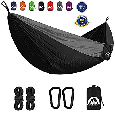 SWTMERRY- Double Camping Hammock Lightweight Nylon Portable | Hammocks with Tree Straps | Hammock 2 Person Heavy Duty | Hammock Backpacking Lightweight, for Adults Kids Hiking Beach (Black & Gray)