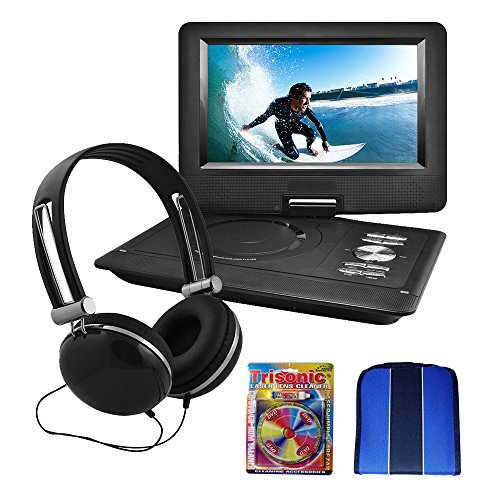 Ematic 10' Portable Swivel Screen DVD Player w/Headphones & Car Mount Black (EPD116BL)- Essentials Bundle Includes, Trisonic Lens Cleaning Kit & CD/DVD Wallet