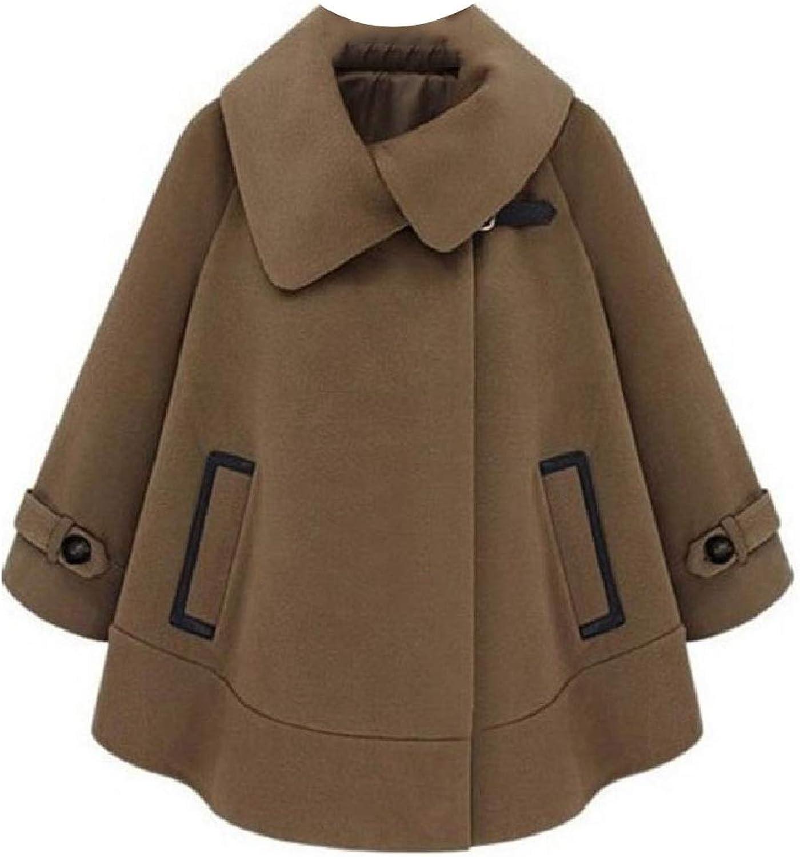 Abetteric Womens Poncho Coat Baggy Classics Short Eco Fleece Woolen Coat