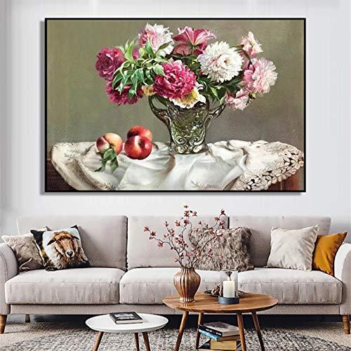 N/A Quadri Moderni Decorativi Piante di Peonia Bonsai Pittura A Olio su Tela Wall Art Immagine Senza Cornice Decorazione per Soggiorno Decorazioni per La Casa Regalo Poster Decorativo