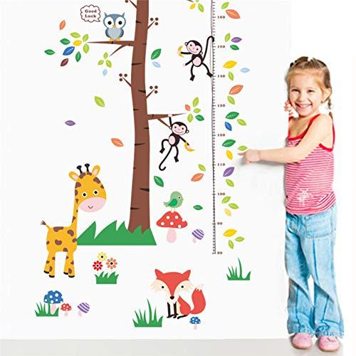 PISKLIU muursticker, dieren, mono, giraf, uilen, eekhoorns, boom, afmetingen, muursticker, voor kinderkamer, bank, tatoeage, muurkunst
