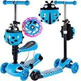 MalPlay Tretroller Scooter Roller Kinder mit LED-Beleuchtung | mit abnehmbarem Sitz | 75CM | Höheverstellbare Lenker | für Mädchen und Jungen ab 3 Jahren (Blau)