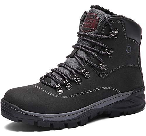 Hombre Botines Zapatos Botas Nieve Invierno Botas Trekking Zapatos Fur Forro Aire Libre Boots Negro 46 EU