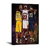 "Basketball Wall Art Canvas Paintings NBA Legends Lebron James, Michael Jordan & Kobe Bryant Posters and Prints Artwork Basketball Fan Memorabilia Gifts for Teens Guys Girls Bedroom Framed (12""Wx18""H)"
