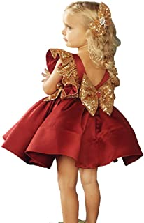 oneflow Toddlers Baby Girl Dresses Sequin Flower Girl Dress Party Birthday Pageant Dress Kids Princess Outfits