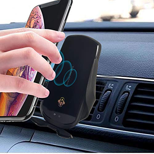 Wireless Car Mobile Holder charger Auto-Clamping Qi Fast Charging Phone Charger in Car Air Vent Compatible with iphone8 iPhone x, iphone8 Plus, Samsung S6, Sedge, s7, Sedge, s8, s8+,s9+(Black)(Kimtok)