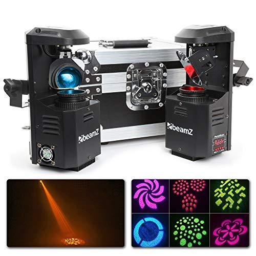 beamZ 3-en1-PocketScan LED Set 2 scanners & Rack transporte (12W-Cree-LED 7colores, modo DMX y stand alone, master slave, función estroboscópica, efectos)