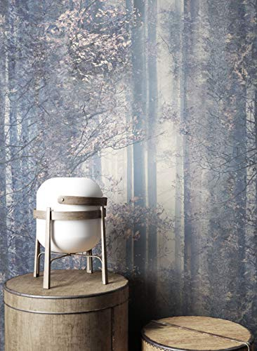 NEWROOM Tapete Grau Bäume Wald Natur Vliestapete Creme Vlies moderne Design Optik Mustertapete inkl. Tapezier Ratgeber