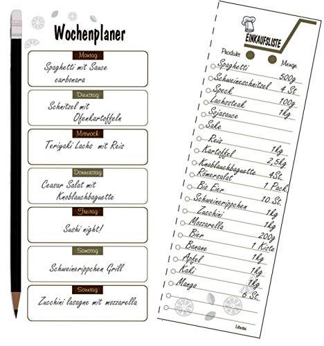 Libetui Wochenplaner mit Shoppinglist Essenplaner Einkaufsliste to do Liste, Magnetischer Menüplaner, Notizblock Kühlschrankblock DIN A5 (Kaffee)