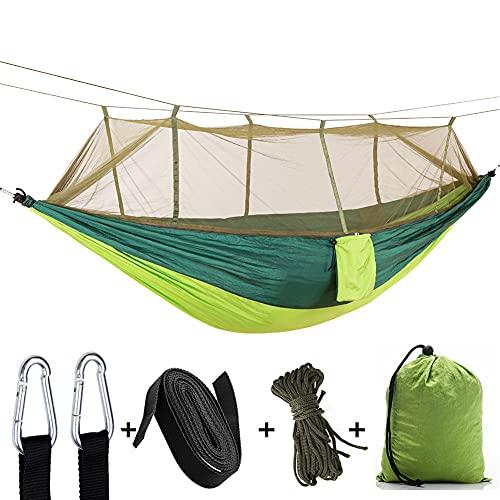 Zokrintz Hamaca de camping con mosquitero, doble y individual, portátil, paracaídas de nailon ligero con correas de árbol para aventuras al aire libre