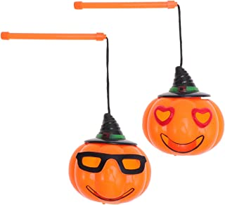 BESTOMZ HalloweenPumpkin Lantern Lights, Sound-Activated Portable LED Lantern Light Jack-O-Lantern Lamp for Kids Outdoor Activities Toys Party Supplies, Pack of 2