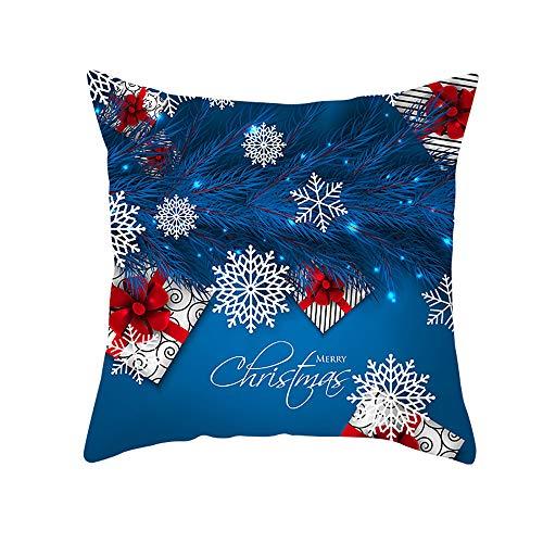 HMboom kussenslopen/fluweel kussenslopen 18 x 18 inch / 45 x 45 cm (2 set) voor slaapbank auto Square, Velvet Blue Christmas