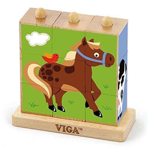 VIGA Toys–50833–impilabile Cube Puzzle–Animali della Fattoria–9PCS
