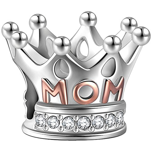 SOUFEEL Abalorio Corona 100% Plata Chapado en Oro de 14K Charm Beads Dijes Diamende de Swarovski para Pulsera o Collar Europeas Compatible Regalo para el Día de Madre