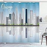 abby-shop Chicago Skyline Duschvorhang, Wolkenkratzer Lake Michigan Illinois Klassische amerikanische Landschaftsstraße, Blaugrau