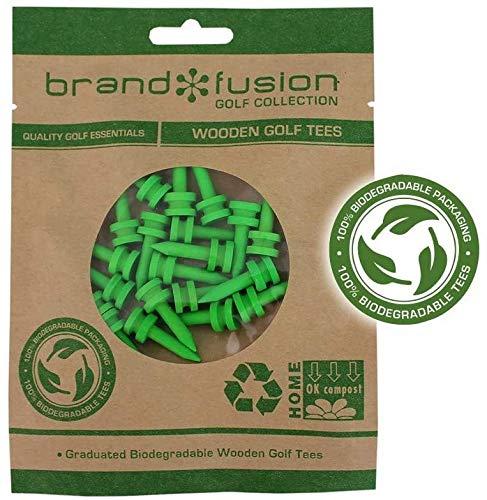 Brand Fusion 27mm Lime Graduated Biodegradable Wooden Golf Tees Bois Mixte, Citron Vert
