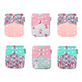 KaWaii Baby One Size Reusable Cloth Diaper Shells for Baby Girl, Newborn to Toddler, Twinkle Unicorn - Pack of 6