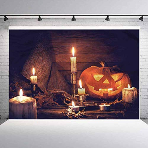 10x10FT Vinyl Photography Backdrop,Halloween,Wood Planks and Candles Background for Graduation Prom Dance Decor Photo Booth Studio Prop Banner