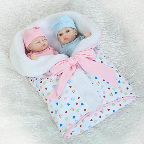 YIHANG Reborn Baby Puppen Cute Baby Zwillinge Baby Mini Palms Baby Doll Simulation Kreative Persönlichkeit Geschenke Handgemachte Silikon Soft Soft Eyes Open Kann Gewaschen Werden