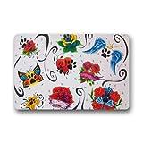 Mayers dog paw doormats '23.6(L) x15.7(W), 3/16'-Beautiful Flores ala corazón Huella de Perro Felpudo Durable Resistente al Calor Non-Woven Fabric Top Felpudo