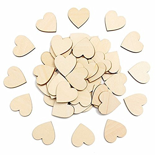 4f1e28896d3c Pixnor Adorno de corazón de madera en blanco para manualidades Pack de 50
