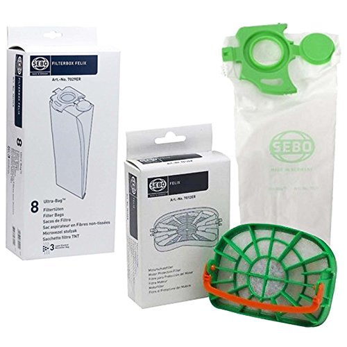 Sebo Felix & Dart 1 2 Genuine Vacuum Cleaner Bags & Motor Filter Set by SEBO