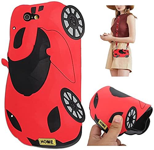 Artfeel Coque Bandoulière pour Huawei P20 Lite,Housse Silicone Souple Dessin Animé 3D Drôle Mignon Étui avec Sangle Lanière de Collier pour Enfants Garçons Filles,Voiture Rouge