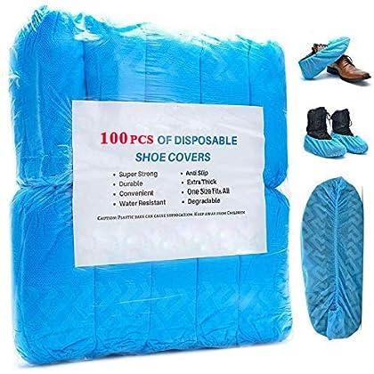 EzLife Cubrezapatos Desechables Impermeables, 100 Piezas Antideslizante Cubiertas de Plástico CPE, Protector de Zapatos…