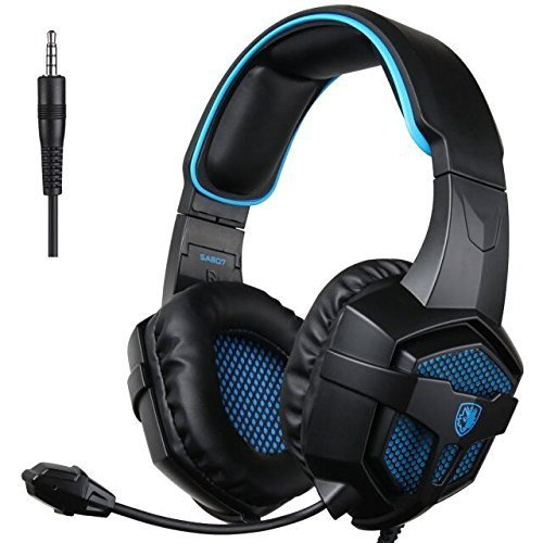 Sades SA807 Stereo Sound Over Ear 3.5mm Wired Gaming Headset Headphone with Microphone for PC/Mac/PS4 /Laptop/ipad/iPod/New Xbox One(Blue Black)