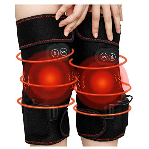 2 PCS Heated Knee Massager 7.4V 6000mAh Rechargeable Battery Knee Wraps Electric Heated Knee Braces 3 Adjustable Temperature Vibration Massage Knee Warps for Pain Relief Arthritis