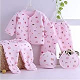 Gilli Shopee Newborn Baby Soft Feel Cotton Polyester Blend Top Pyjama with Cap and Bib Set for Born Babies for Winter Wear Dress 0-3 Month