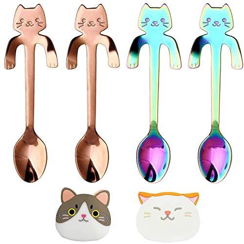 Juego de posavasos con cuchara de café para gatos, cucharas colgantes de...